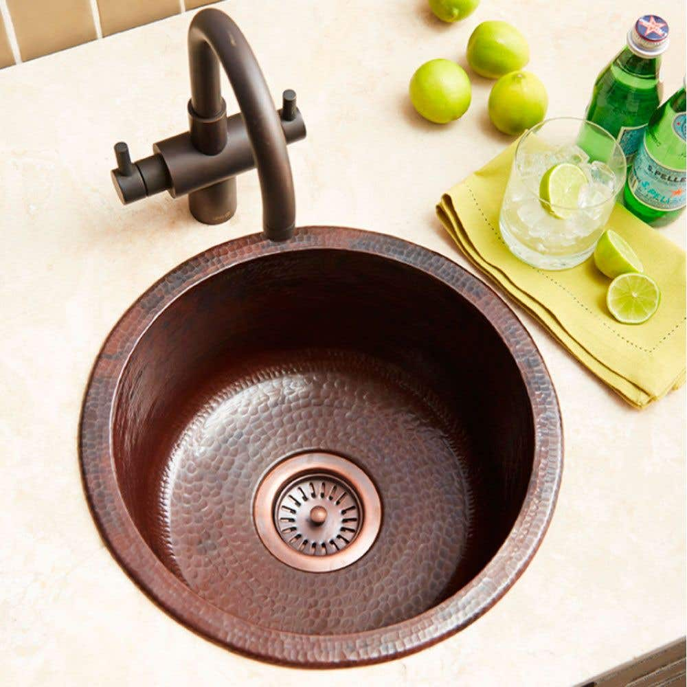 Redondo Chico 15 Inch Copper Round Bar And Prep Sink Cps260 S Vintage Tub