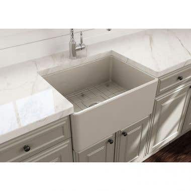 Bocchi Classico 24 In Apron Front Fireclay Single Bowl Kitchen Sink with Grid and Drain