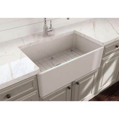 Bocchi Classico 30 In Apron Front Fireclay Single Bowl Kitchen Sink with Grid and Drain