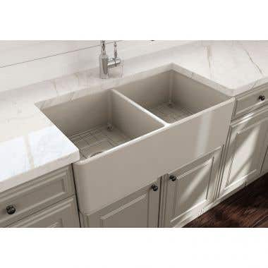 Bocchi Classico 33 In Apron Front Fireclay Single Bowl Kitchen Sink with Grid and Drain