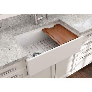 Bocchi Contempo 30 In Apron Front Step Rim Fireclay Single Bowl Kitchen Sink with Grid and Drain