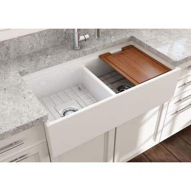 Bocchi Contempo 36 In Apron Front Step Rim Fireclay Double Bowl Kitchen Sink with Grid and Drain