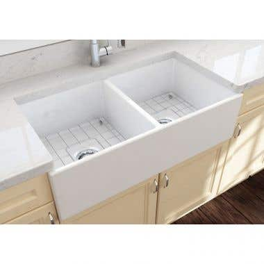 Bocchi Contempo 36 In Apron Front Fireclay Double Bowl Kitchen Sink with Grid and Drain