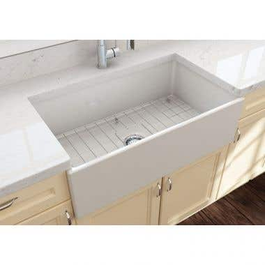 Bocchi Contempo 33 In Apron Front Fireclay Single Bowl Kitchen Sink with Grid and Drain