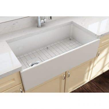 Bocchi Contempo 36 In Apron Front Fireclay Single Bowl Kitchen Sink with Grid and Drain