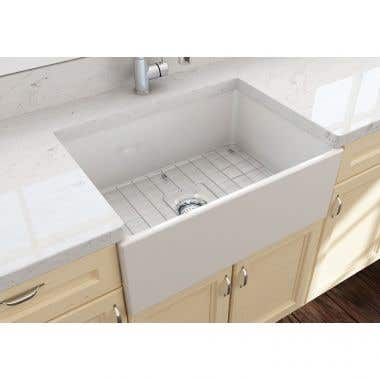 Bocchi Contempo 27 In Apron Front Fireclay Single Bowl Kitchen Sink with Grid and Drain