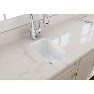 Bocchi Sotto 12 In Undermount Fireclay Single Bowl Kitchen Sink with Grid and Drain