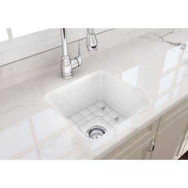 Bocchi Sotto 18 In Undermount Fireclay Single Bowl Kitchen Sink with Grid and Drain