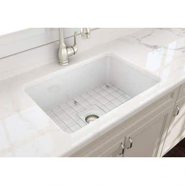 Bocchi Sotto 27 In Undermount Fireclay Single Bowl Kitchen Sink with Grid and Drain
