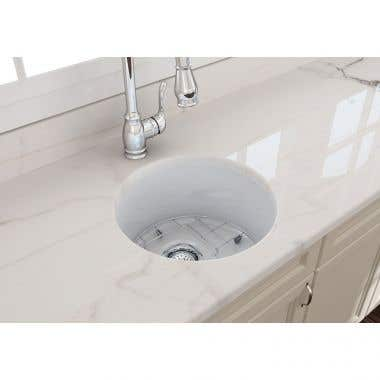 Bocchi Sotto 18-1/2 In Undermount Fireclay Single Bowl Kitchen Sink with Grid and Drain
