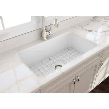 Bocchi Sotto 32 In Undermount Fireclay Single Bowl Kitchen Sink with Grid and Drain