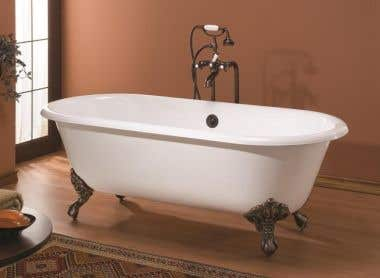 Cheviot Regal Double Ended Cast Iron Clawfoot Tub - Continuous Roll Rim - No Faucet Drillings