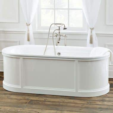 Cheviot Buckingham 70 Inch Cast Iron Skirted Pedestal Bathtub with Flared Rim - No Faucet Drillings