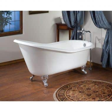 Cheviot Cast Iron Slipper Clawfoot Tub - Continuous Rolled Rim - No Faucet Drillings