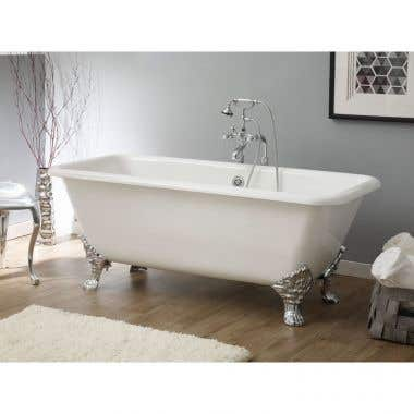 Cheviot Spencer Cast Iron 67 Inch Clawfoot Bathtub with Continuous Rolled Rim - No Faucet Drillings