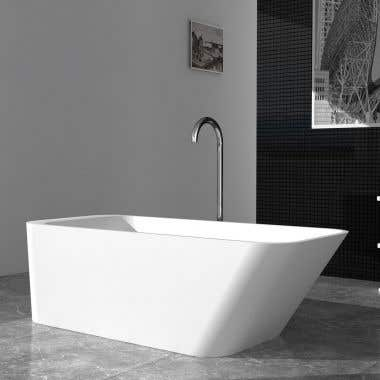 Cheviot Marco 67 Inch Solid Surface Freestanding Slipper Bathtub - No Faucet Drillings