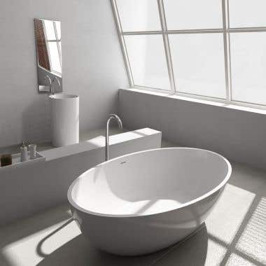 Cheviot Pietro 69 Inch Solid Surface Freestanding Double Ended Bathtub - No Faucet Drillings