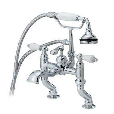 Cheviot Rim Mount Bathtub Filler with Hand Shower and Lever Handles