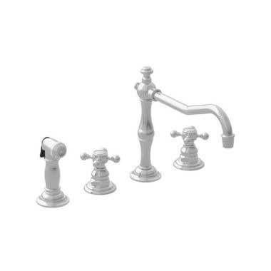 Newport Brass Chesterfield Widespread Kitchen Faucet with Side Spray - Cross Handles
