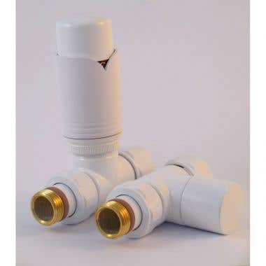 Tuzio Thermostatic Straight Valve Pair for Hydronic Towel Warmers