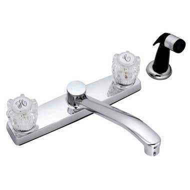 Banner 120 Series Two Handle Kitchen Sink Faucet with 8 Inch Centers and Side Spray