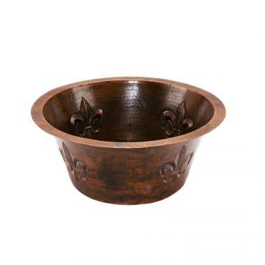 Premier Copper Products Copper Bar Sink with Fleur De Lis Design