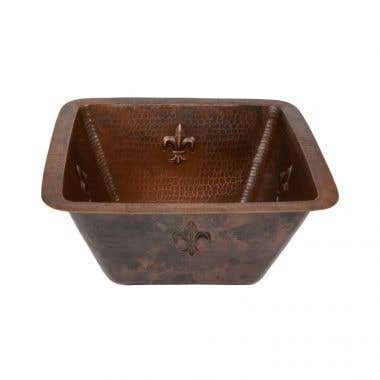 Premier Copper Products Square Fleur De Lis Bar/Prep Sink