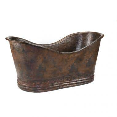 Premier Copper Products 67 Inch Hammered Copper Double Slipper Tub