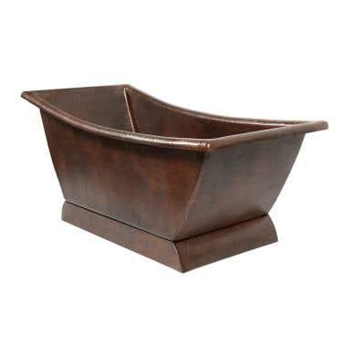 Premier Copper 67 Inch Hammered Copper Canoa Single Slipper Bathtub