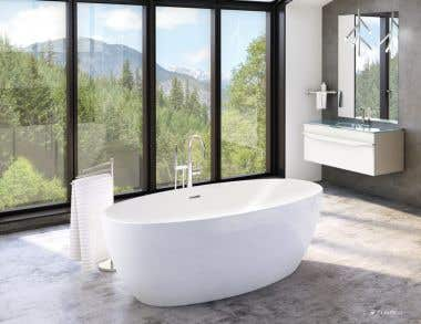 Aria Voce Acrylic Double Ended Freestanding Bathtub - No Faucet Drillings