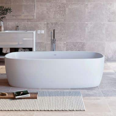 Aquatica Coletta 71 Inch Freestanding Double Ended Solid Surface Bathtub