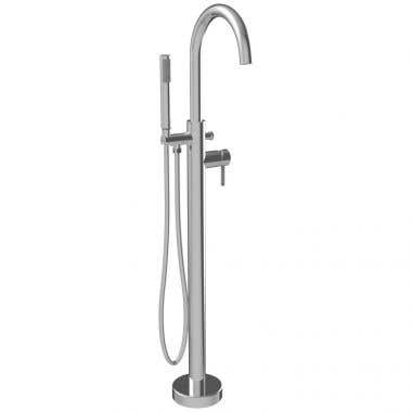 ROUND SPOUT FREESTANDING TUB FAUCET WITH HANDSHOWER