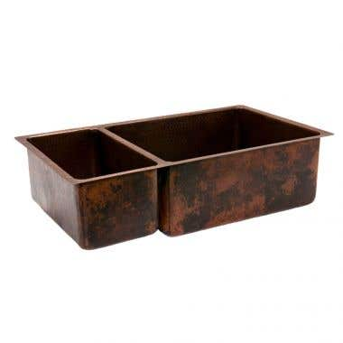 Premier Copper Products 33 Inch Hammered Copper Kitchen 25/75 Double Basin Sink