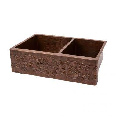 Premier Copper 33 Inch Hammered Copper Kitchen Apron 60/40 Double Basin Sink with Scroll Design