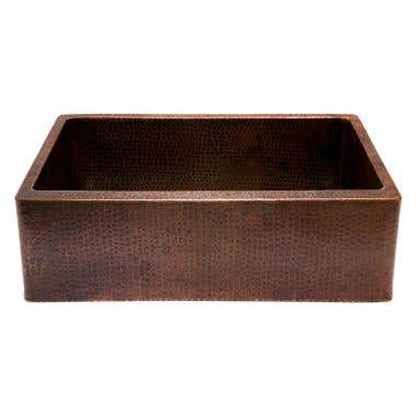 Premier Copper Products 30 Inch Hammered Copper Kitchen Apron Single Basin Sink