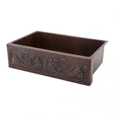 Premier Copper Products 33 Inch Hammered Copper Kitchen Apron Single Basin Sink with Vineyard Design
