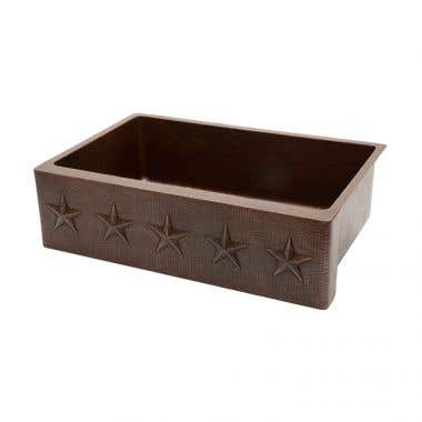Premier Copper Products 33 Inch Hammered Copper Kitchen Apron Single Basin Sink with Star Design