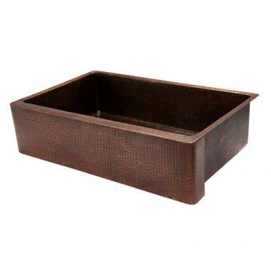 Premier Copper Products 35 Inch Hammered Copper Kitchen Apron Single Basin Sink