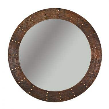 Premier Copper 34 Inch Hand Hammered Round Copper Mirror with Hand Forged Rivets
