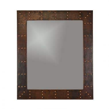 Premier Copper 36 Inch Hand Hammered Rectangle Copper Mirror with Hand Forged Rivets