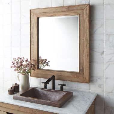 Native Trails Chardonnay Rectangular Oak Wood Framed Wall Mirror