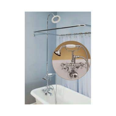Strom Plumbing English Telephone Faucet and 45 x 25 Clawfoot Tub Shower Enclosure