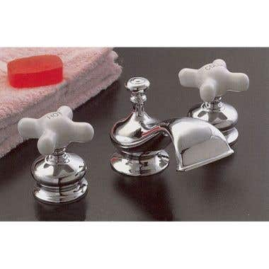 Strom Plumbing Thames Widespread Lavatory Sink Faucet Set with Porcelain Cross Handles