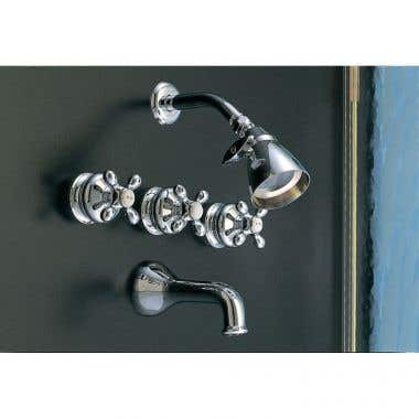 Strom Plumbing Thames Three Handle Tub and Shower Faucet Set with Metal Cross Handles