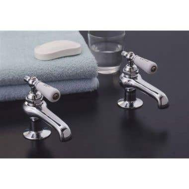 Strom Plumbing Basin Taps with Porcelain Lever Handles