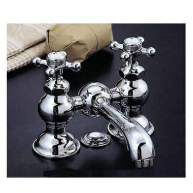 Strom Plumbing Columbia Bridge Style Faucet Set with Straight Spout - 4 Inch Centers