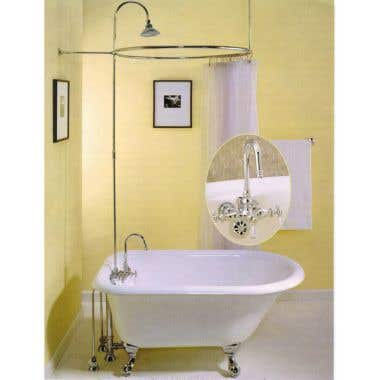 Strom Plumbing Gooseneck Faucet and Shower Enclosure with Circular Shower Ring