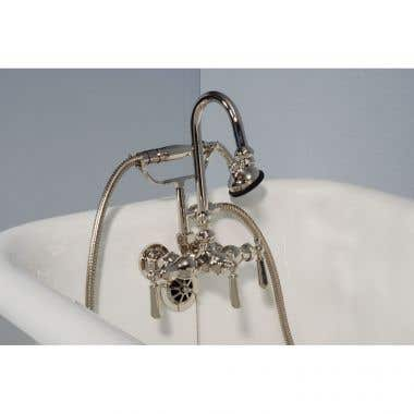 Strom Plumbing Tub Wall Mount High Spout Clawfoot Tub Faucet with Handshower