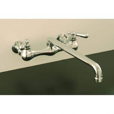 Strom Plumbing Madeira Wall Mount Kitchen Faucet with Metal Lever Handles