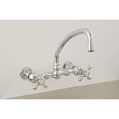 Strom Plumbing American Wall Mount Curved Spout Faucet with Metal Cross Handles